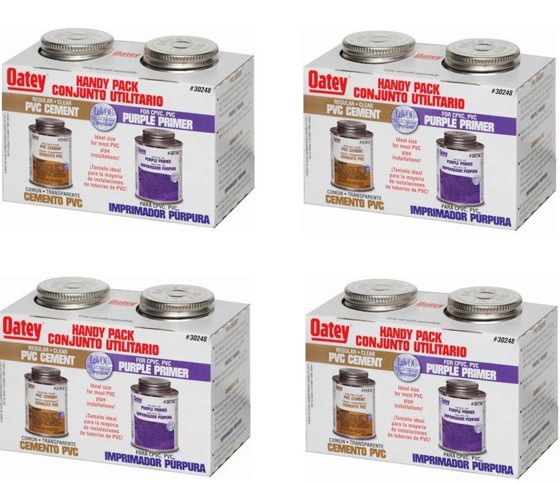 Oatey 30246 PVC Regular Cement and 4-Ounce NSF Purple Primer Handy Pack (.4-Pack)