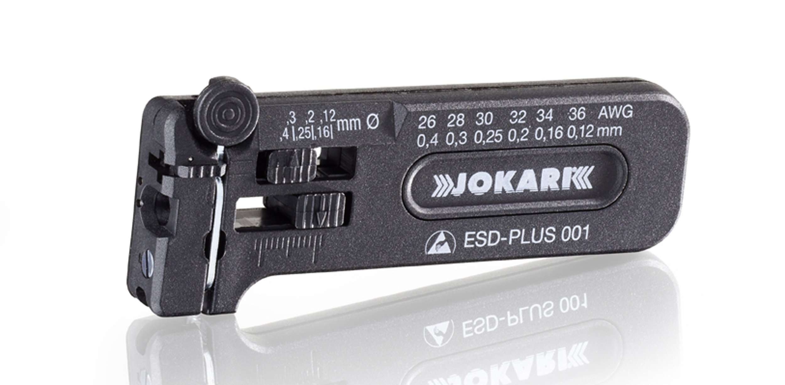 Jokari 40027 ESD-Plus 001 Adjustable Mini-Precision Stripping Tool for Cable Stripping, 36-26 AWG (0.12-0.40mm)