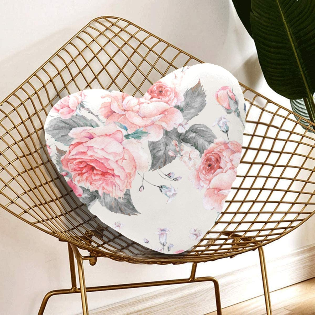 Yagqiny Personalized Heart Pillow Blooming English Rose Watercolor Heart Shaped Pillows For Girls 13 78 X 13 78 Inch Heart Shaped Cushion Gift For Friends Children Girl Valentine S Day Home Kitchen