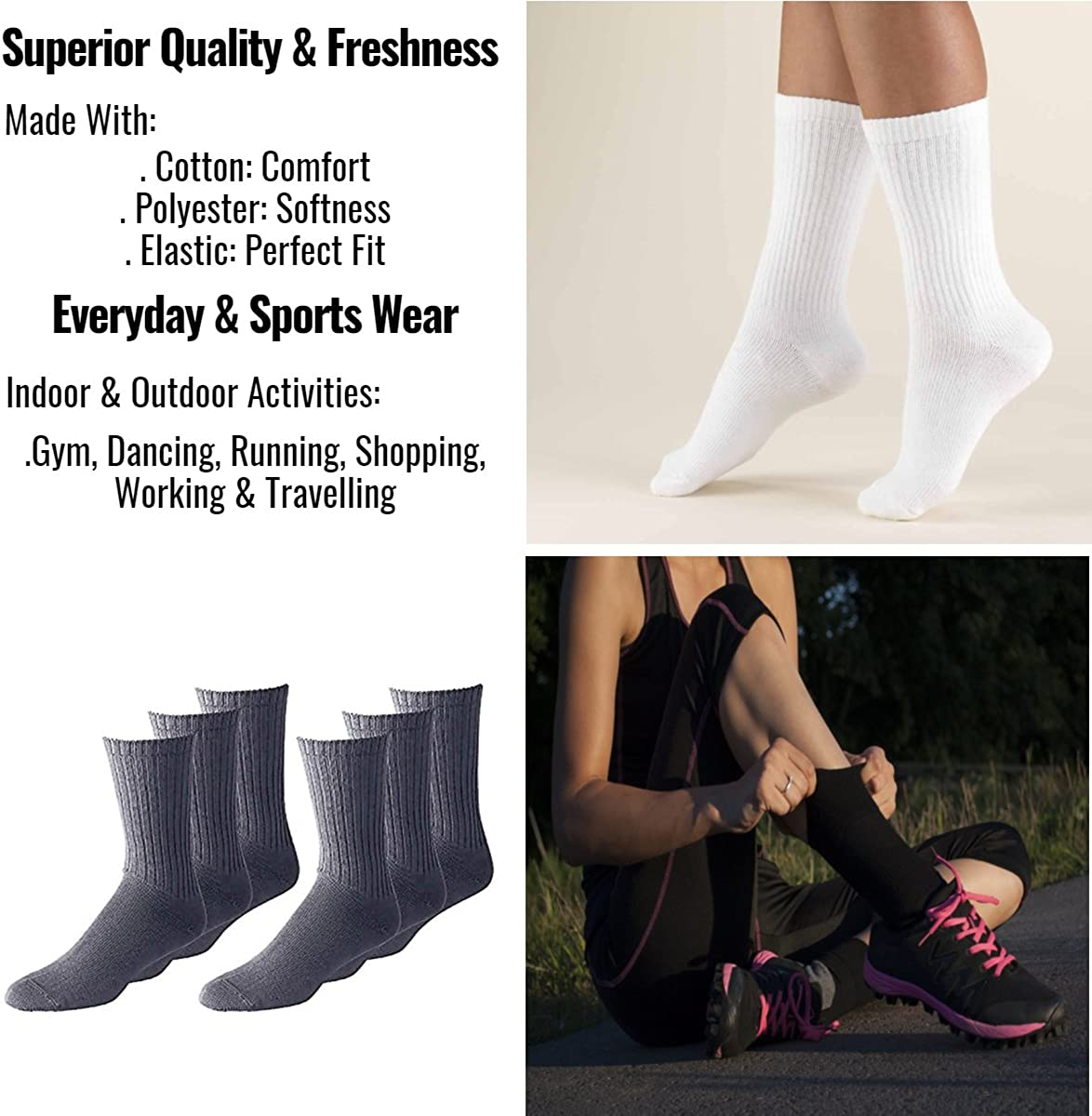 Bulk Wholesale Packs Mens Classic Crew Socks Shoe Size 6 to 12 in Black and White