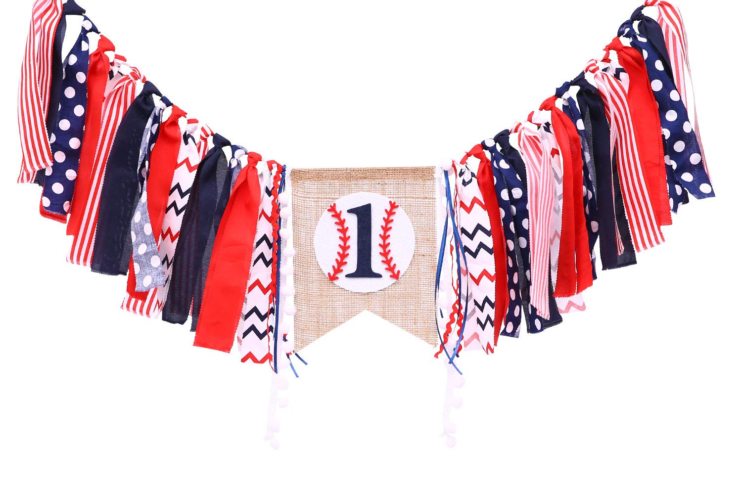 Baseball Banner For 1 St Birthday - First Birthday Decorations For Baseball Rag Tie Fabric Garland, Photo Booth Props Red White Blue, Birthday Souvenir And Gifts For Boy
