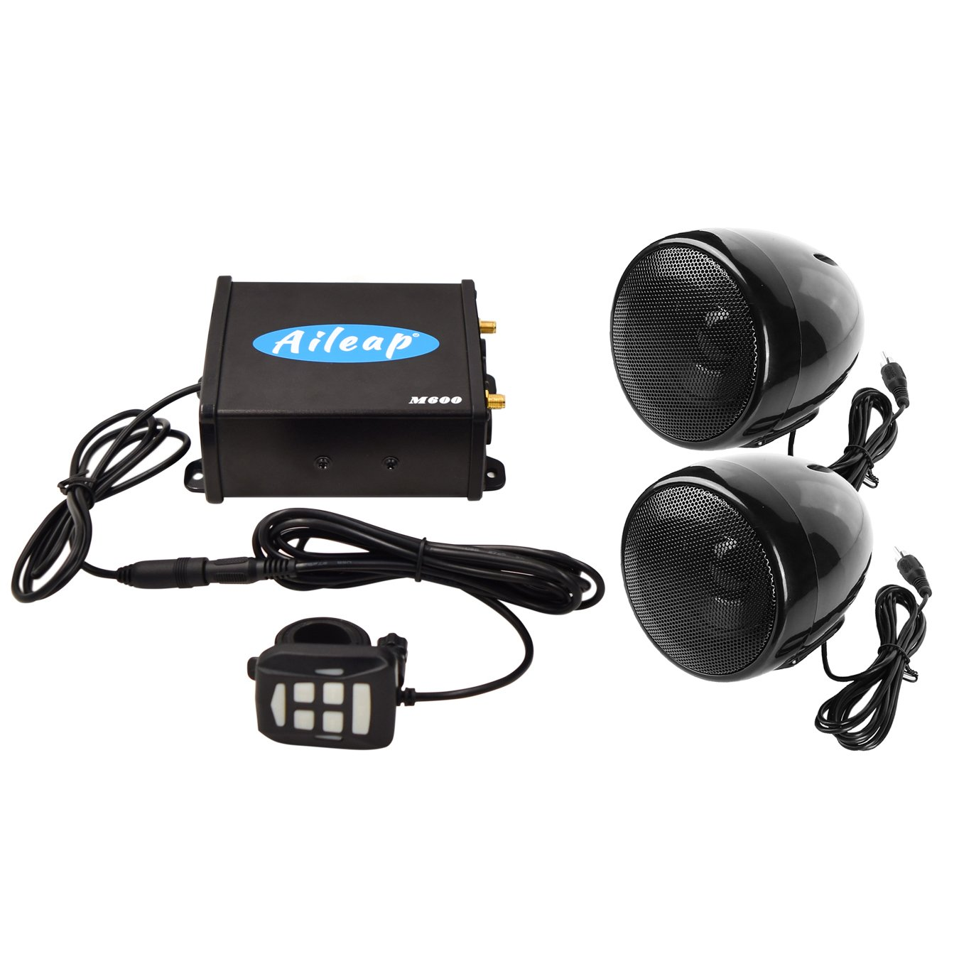 Aileap M600 Motorcycle/ATV/Boat Audio System with Bluetooth, FM Radio, Aux Input, One Pair of 3.5'' Weatherproof Speakers and Full Function Wired Control, Excellent Sound System for Riding by Aileap