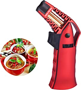 Culinary Torch, Blow Torch Refillable Kitchen Butane Torch Lighter, Cooking Torch with Adjustable Flame Chef Torch for Desserts, Creme Brulee, Sear Steak, BBQ and Baking (Butane Gas Not Included) /Red