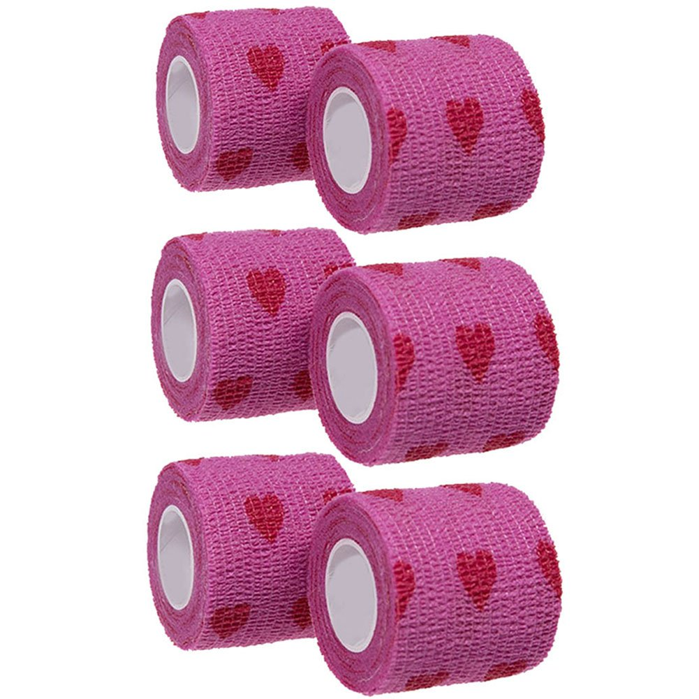GouGou Self-Adhesive Tape Bandage Rolls Non-woven Ventilate Flexible Wrap for Soccer Basketball Sports Ankle Waist Knee Finger Elbow Ankle Support Tape 6PCS 2 in X 14.7 ft (Purple&True heart) by GouGou