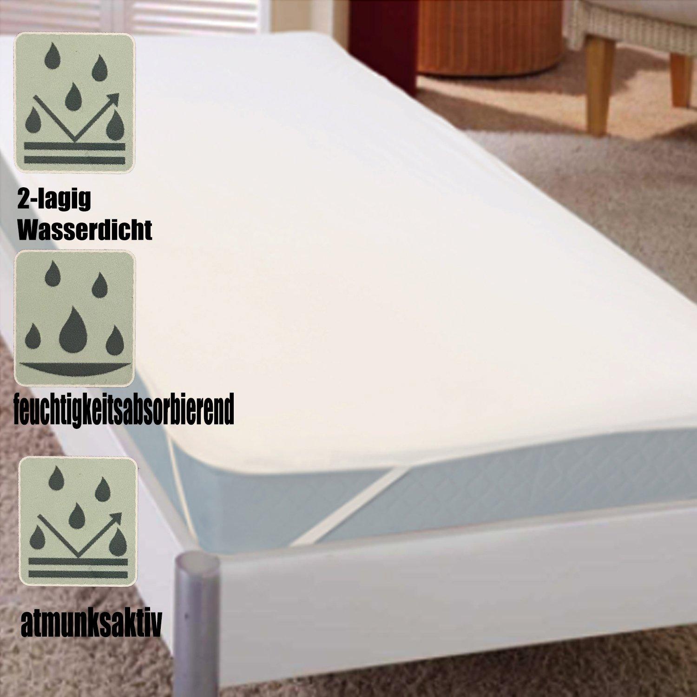 Mojawo 2-lagiger Frottee Matratzenschutz 90x200cm Wei/ß Matratzenschoner Inkontinenzschoner Inkontinenzauflage wasserdicht