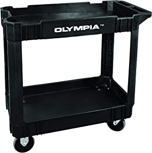 Olympia Tools Commercial Products 2-Shelf Utility Cart/Service Cart, Black, Ergonomic Handle, Heavy Duty Cart, 500 lbs Weight Capacity, 87-884-917 - Great for Warehouse/Garage/Manufacturing and More