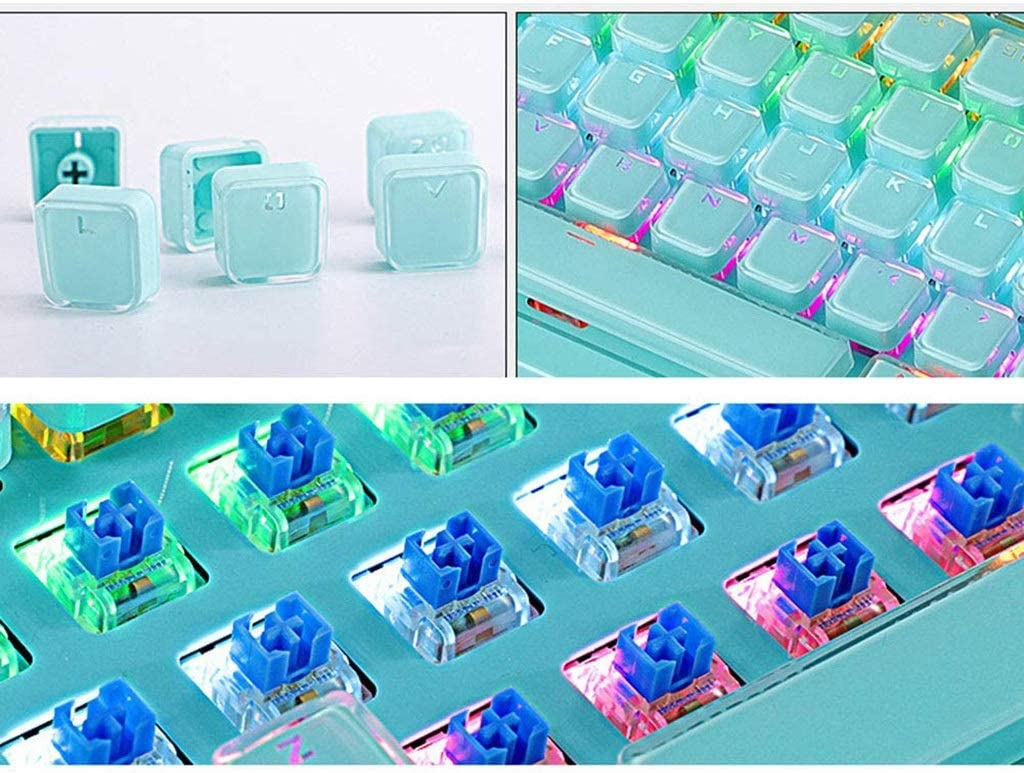 Gaming Mechanical Gaming Keyboard USB Wired Connection 104 Key Crystal Key Cap Cool Light Computer Game Laptop Office Color : A