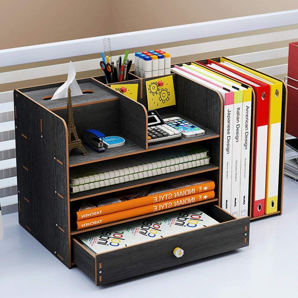 B/üro und Schule Schwarz DODUOS Stifthalter Aufbewahrungsbox aus Holz Multifunktionale Schreibtisch-Organizer mit Schublade Stifthalter f/ür Zuhause