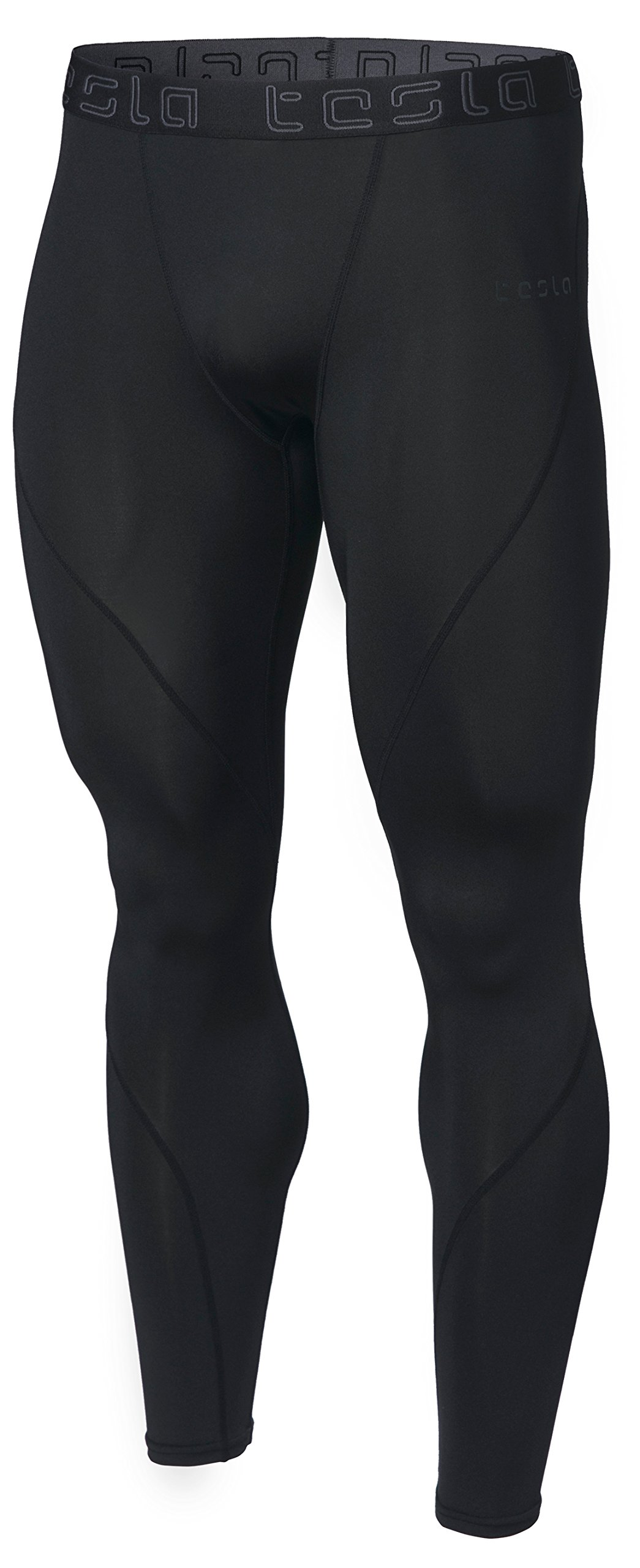 TSLA Men's Compression Pants Running Baselayer Cool Dry Sports Tights, Athletic(mup19) - Black, Large by TSLA