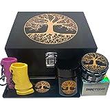 Tree of Life Stash Box Combo - Large Wood Stash Box Combo - Locking Stash Box with Accessories Grinder Stash Jar (Tree of Lif
