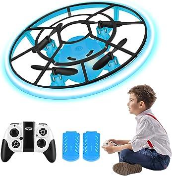 Opinión sobre Regalos para niños, RC Helicopteros Teledirigidos con Luces LED Brillantes, Mini Drone para Principiante y niños, Juguete Voladora con 2 baterías, 360° Flip, Altitud Hold, Modo sin Cabeza (Azul)