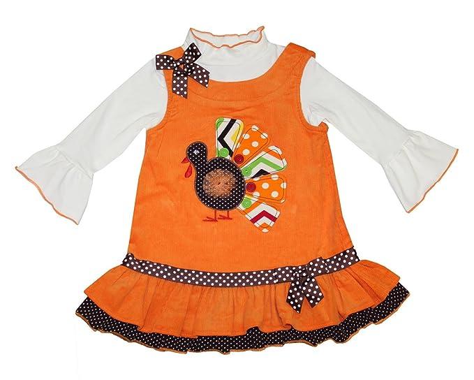 9ccbaf378 Bonnie Jean Little Girls' Turkey Corduroy Harvest Jumper Dress & Turtleneck  ...