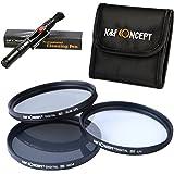 K&F Concept 77MM UV CPL ND4 77mm Pack de Filtros Kit UV CPL ND4 para Canon Nikon Sigma Tamron DSLR Cámaras + Pluma de limpieza + Bolsa de 3 Filtro