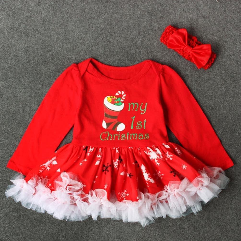 Baby Letter Dot Print Kleid Outfits LSAltd Neugeborene M/ädchen Weihnachtskleid Stirnband