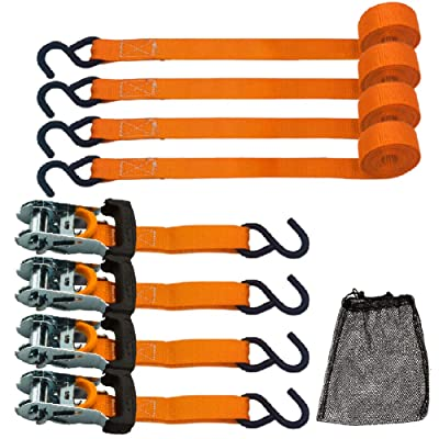 Ratchet Tie Down Straps, 10 inch Securing Straps, 3000lbs Break Strength, Orange(4 Pack): Automotive