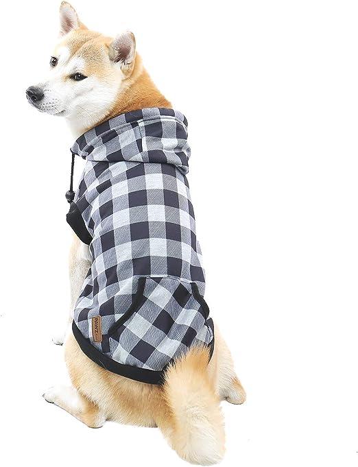 PAWZ Road Perro Camisa a Cuadros Capa Capucha Estilo británico Chaqueta Vestir Mascota Primavera otoño Invierno Ropa Calida para Perrito Pequeños Medianos Grandes Perros Gris XL: Amazon.es: Productos para mascotas