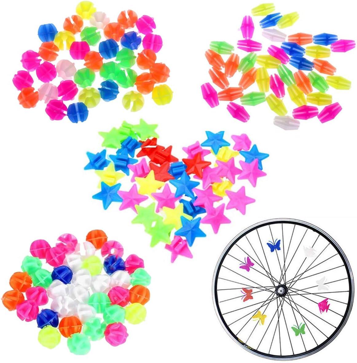 YWQ 170 Pzas Bicicleta Diversión Colorido Habló Adornos,Rueda Bici Radios,Bicicleta Habló Decoración,Bicicleta Decoración Perla,Bicicleta Dia de Plastico Regalo para Niñas