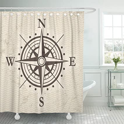 TOMPOP Shower Curtain Compass Wind Rose Map Treasure Waterproof Polyester Fabric 72 X Inches Set