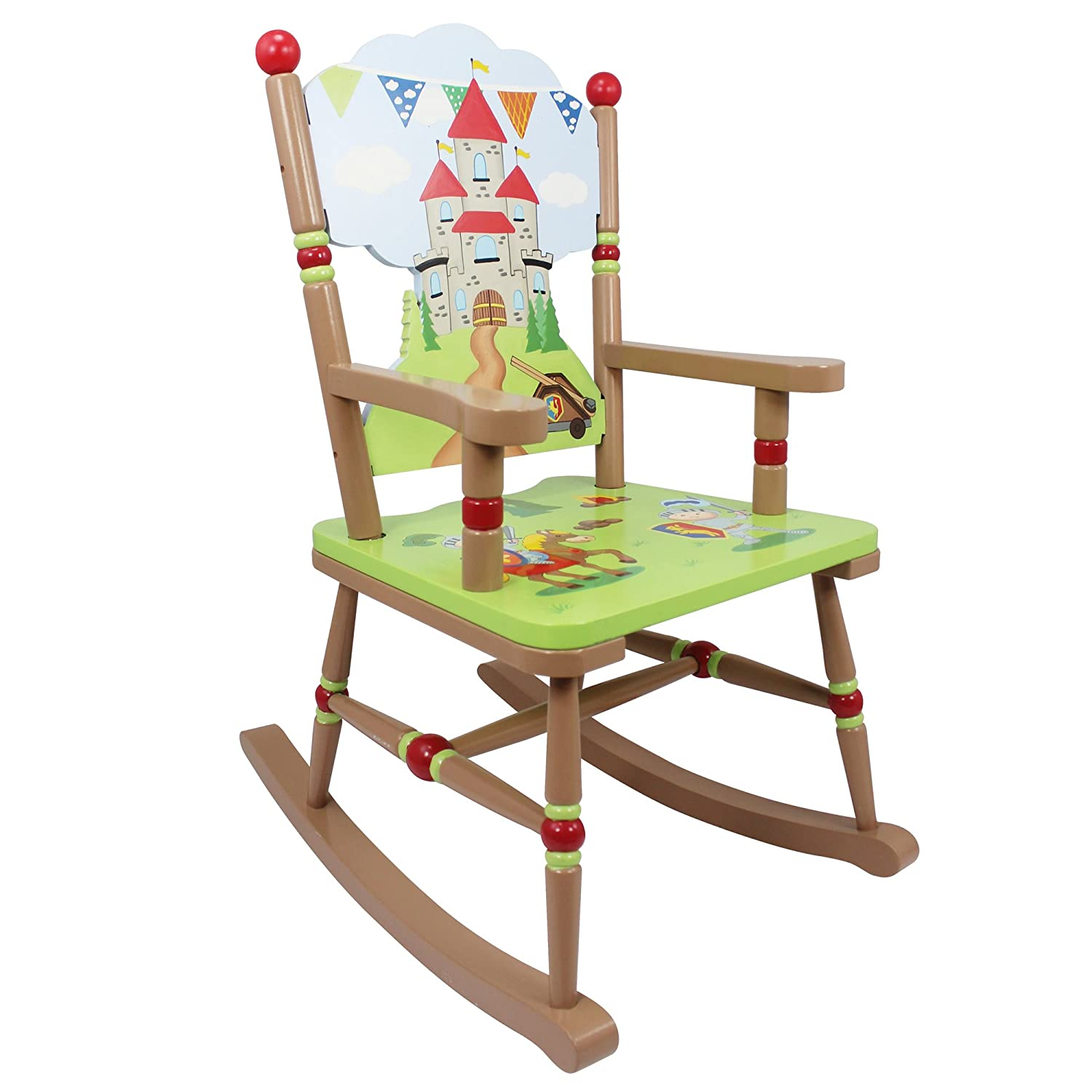 Fantasy Fields - Knights & Dragon themed Kids Wooden Rocking Chair | Hand Crafted & Hand Painted Details | Child Friendly Water-based Paint Teamson TD-11832A