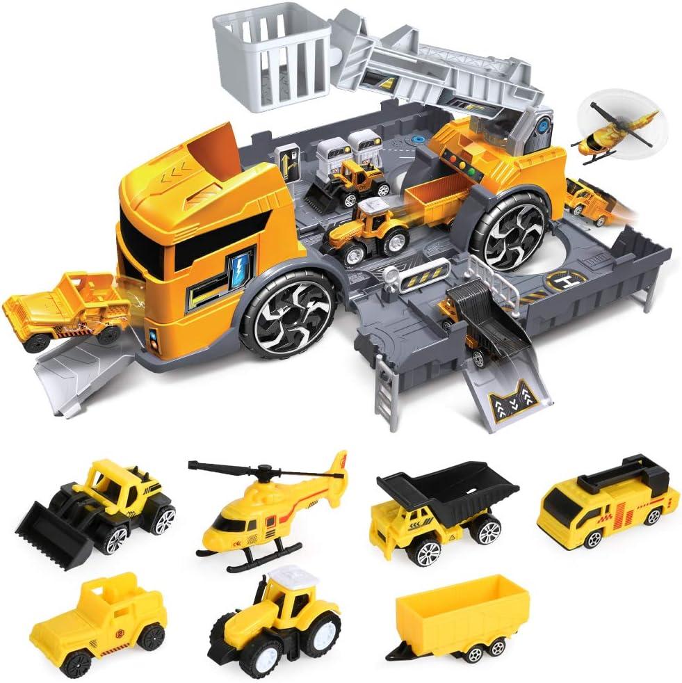 LBLA Coches Juguete para Niños,Coche de Juguete 2 Años 3 Años Niños Chicos,Juegos de Construcción Camión Transportador,Educación Regalos