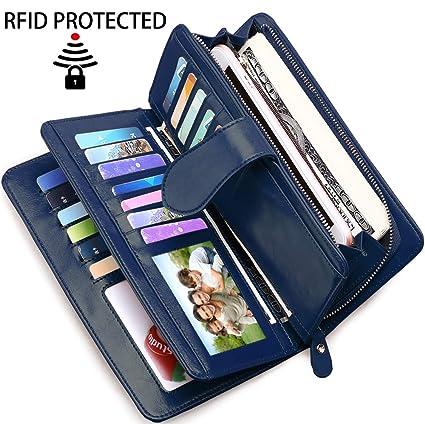 6014f20df8bd Portefeuille Femme Grande Capacite BTNEEU Porte Feuille Compagnon Femme  RFID Blocage, Grand Porte Monnaie Cuir