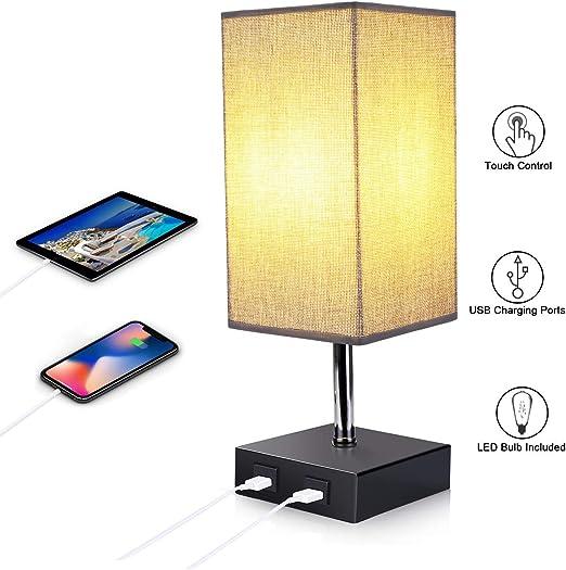 Style 4, 1 Energieklasse A+ ENCOFT E27 Tischlampe Nachttischlampen mit 2 USB Anschluss und Dimmbirne dimmbar Schreibtischleuchte quadratisch Lampenschirm f/ür Schlafzimmer Wohnzimmer eckig
