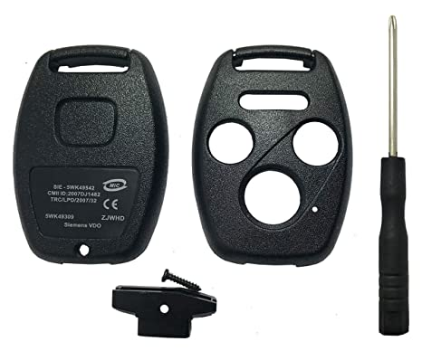 Replacement Keyless Entry Key Fob Case Fit For Honda 2003-2007 Accord 2005-2006 CR-V Ridgeline Civic Remote Control Key Combo 4 Buttons Replacement ...