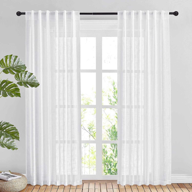 Sheer Window rod pocket Curtain Drape Panels Treatment 2 piece set 84 inch long