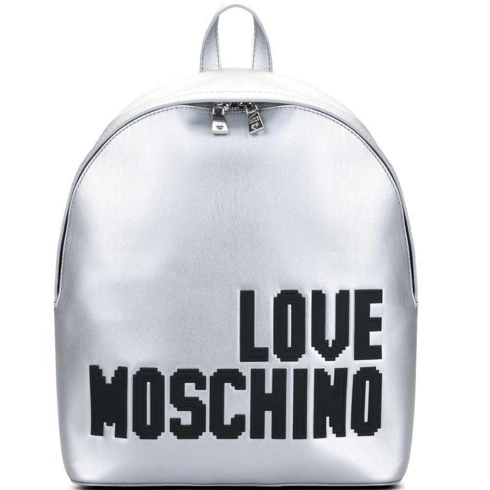 LOVE MOSCHINO Pixel Logo Backpack, Silver ($265)