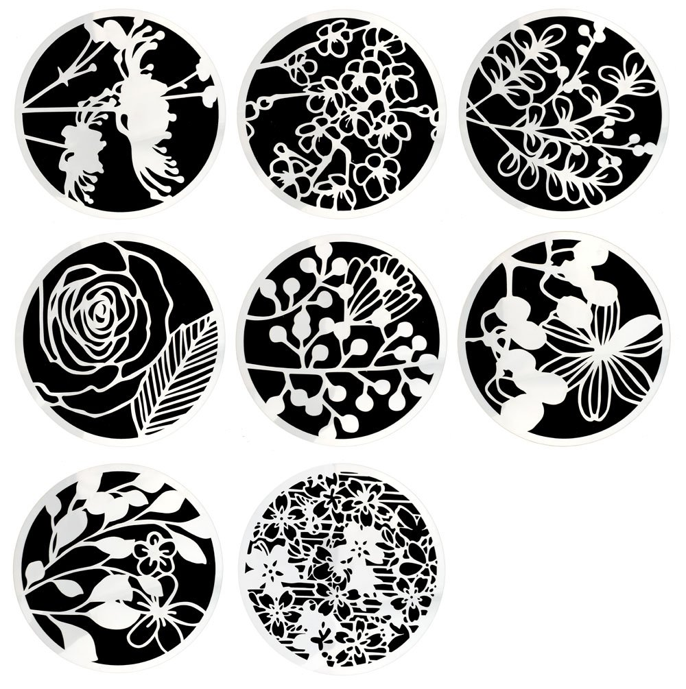 Hyamass 8pcs Mix Flower Pattern Round Shape Hollow Out Painting Stencils Drawing Templates 4336894417