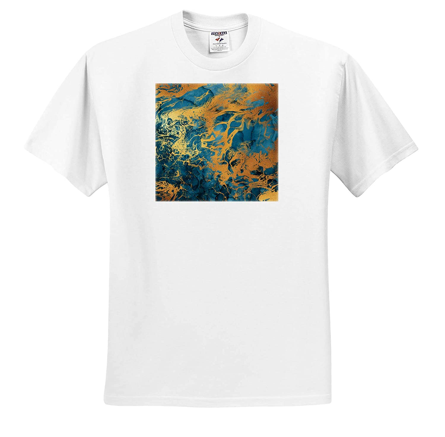 Blue Image of Watercolor and Gold Color Abstract Wash Effect T-Shirts Abstract 3dRose Anne Marie Baugh