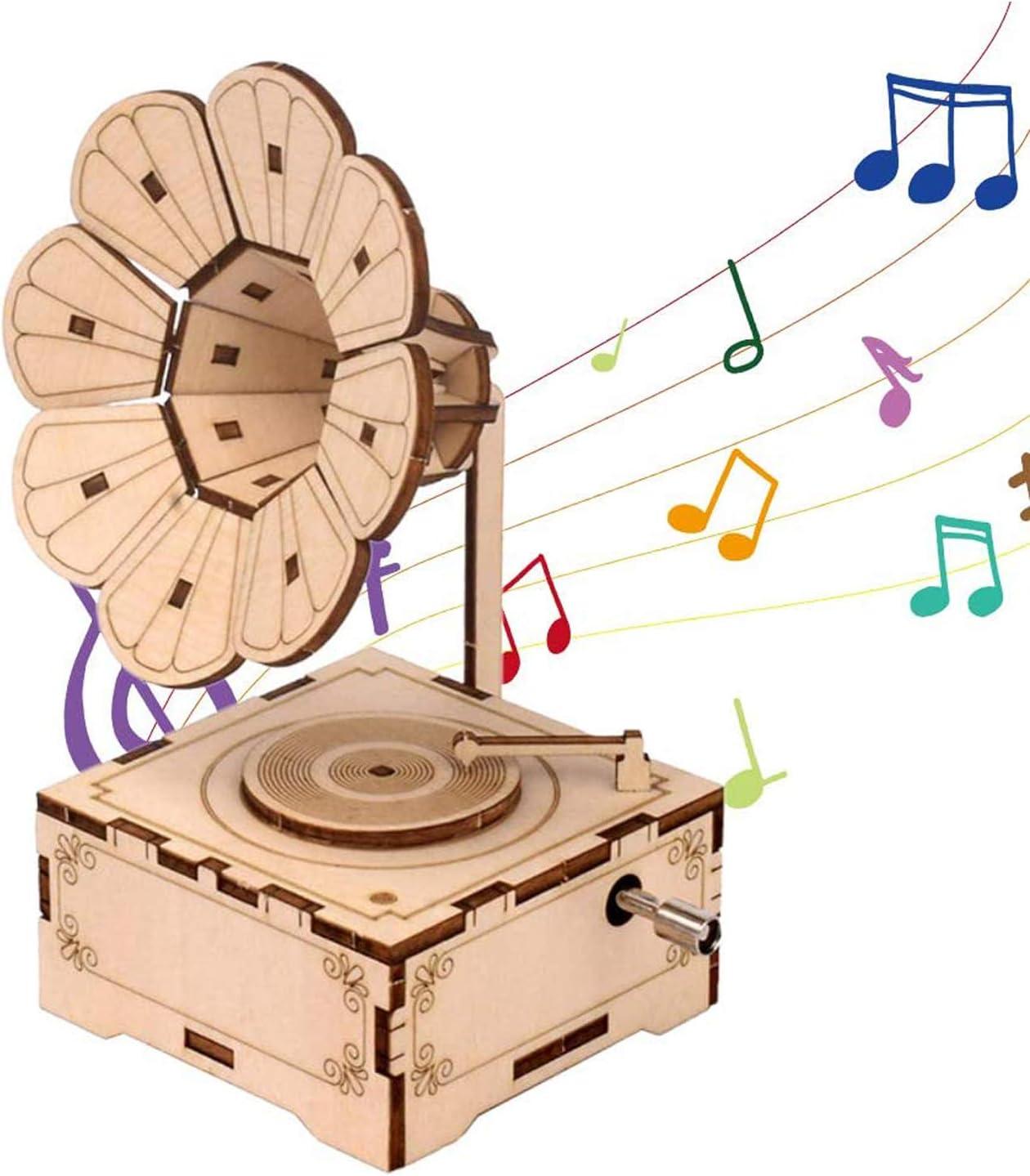Bo/îte /À Musique Bo/îte /À Musique Gramophone Gramophone En Bois R/étro Bo/îte /À Musique En Bois Sculpt/ée /À La Main Puzzle En Bois 3d Pour Cadeau Danniversaire Accessoire De D/écoration Int/&ea