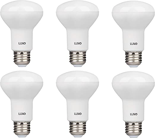 Amazon.com: LUNO R20 Dimmable LED Bulb, 6.5W (45W Equivalent), 455 Lumens, 5000K (Daylight), Medium Base (E26), UL & Energy Star (6-Pack): Home Improvement
