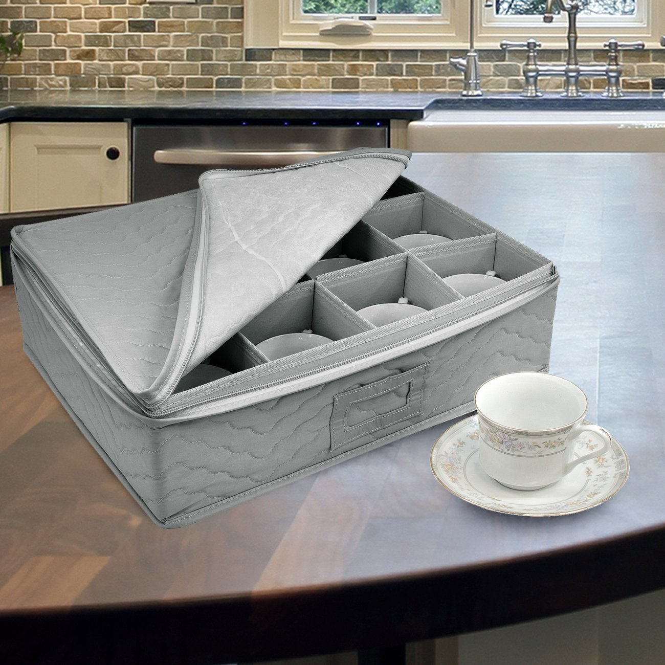 Sorbus Dinnerware Storage 5-Piece Set for Protecting or Transporting Dinnerware — Service for 12 — Round Plate and Cup Quilted Protection, Felt Protectors for Plates, Fine China Case (Gray) by Sorbus (Image #5)