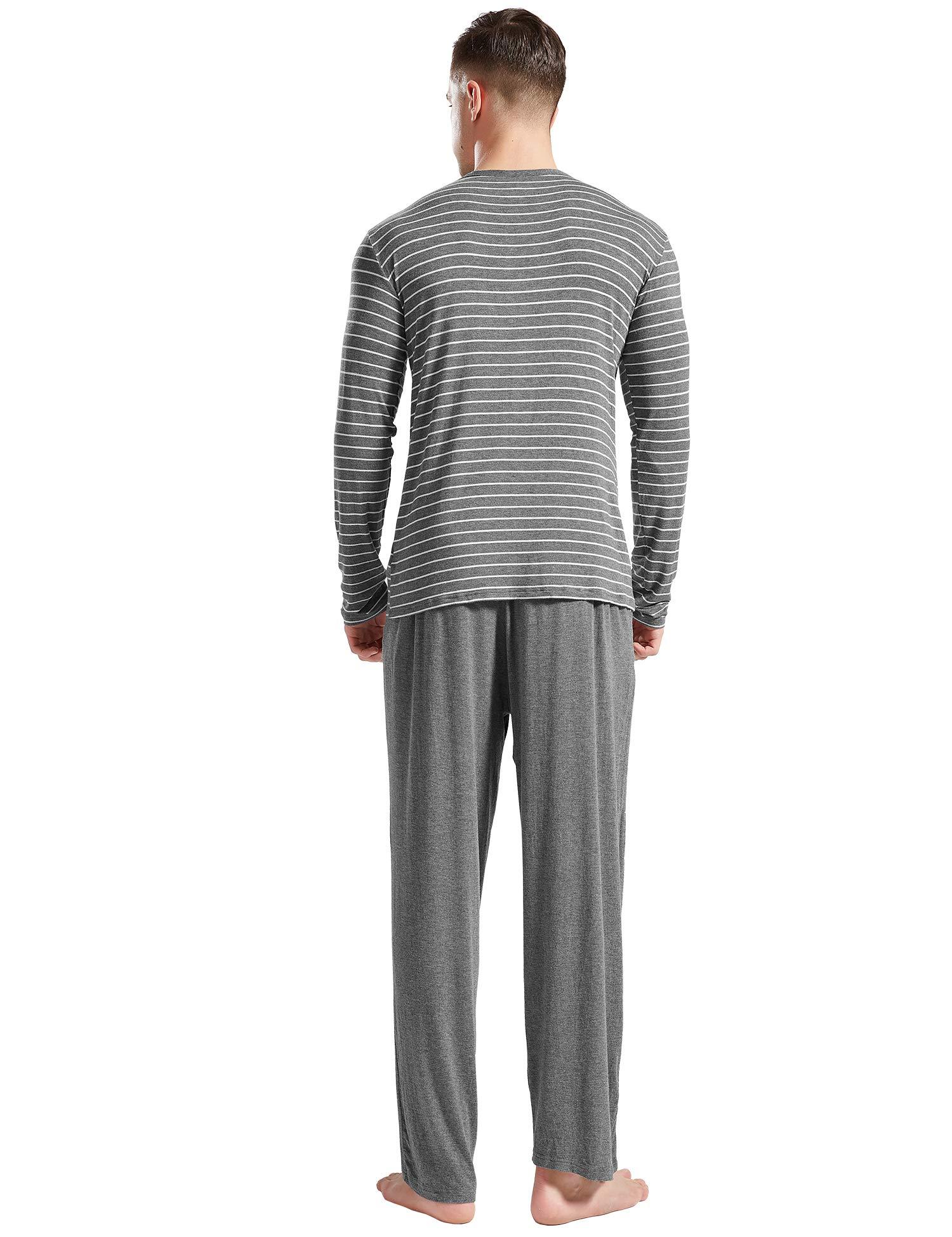 LEMONMOON Men\'s Pajama Set Cotton Classic Striped Crew Neck Sleepwear 2 Piece Long Sleeve Tee with Long Pants, Gray S