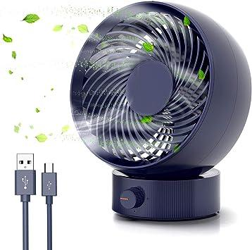 Tencoz Ventilador USB, Ventilador de Mesa Mini Ventilador USB Silencioso Puede Ajustar hacia Arriba y hacia Abajo 20 ° Ventilador de Escritorio para Coche, Oficina ...