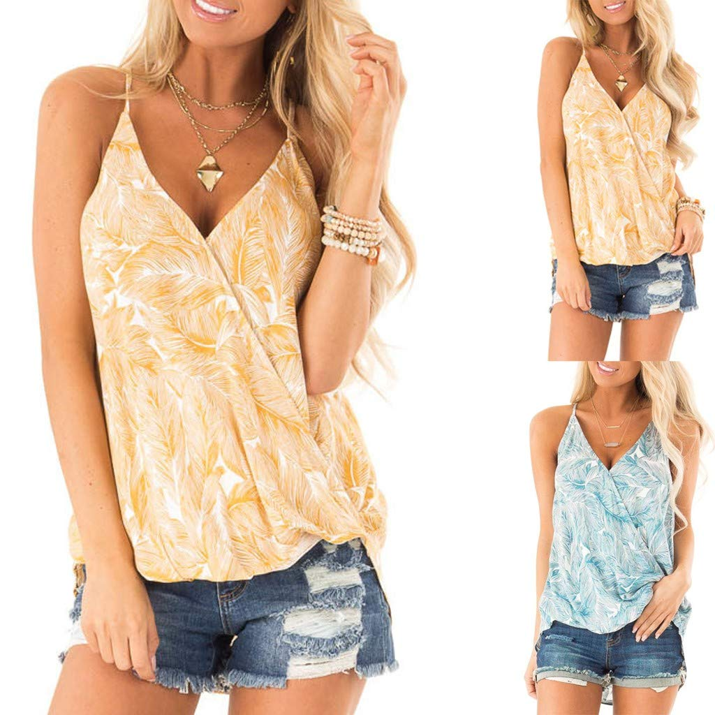 Womens V Neck Camisole Floral Print Loose Casual Tanks and Blouse S-XXL Mebamook Vest Tops