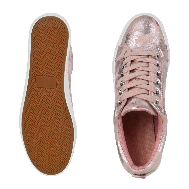 schuhe Sneaker VITA Damen Plateau Sneaker schuhe Glitzer Camouflage Rosa Glitzer e44eb0