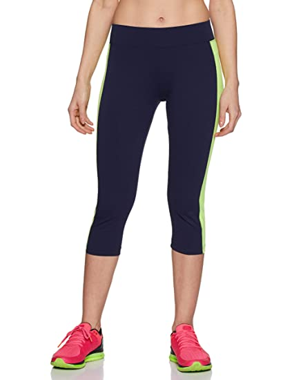 96807aeac19 ONESPORT Navy Blue   Green Cotton Spandex Jersey Solid Sports Capri ...