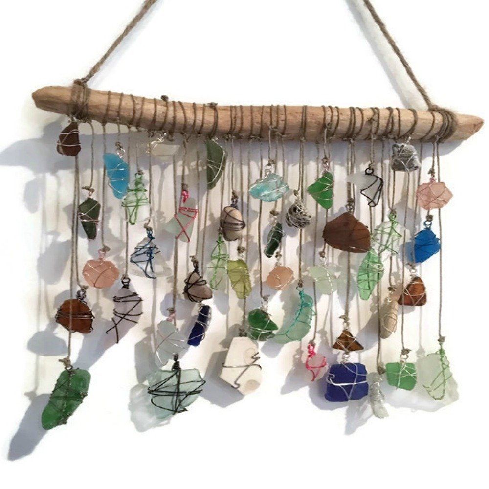 BohoBeach Glass Sun Catcher Eco Friendly Art Whimsical Driftwood Beach Wedding Swap Party Gift by Pier Beach Glass (Image #7)