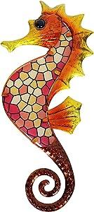 HONGLAND Seahorse Wall Art Oceanic Metal Wall Decor Mosaic Glass Wall Sculpture Hanging Decoration for Home Living Room Garden