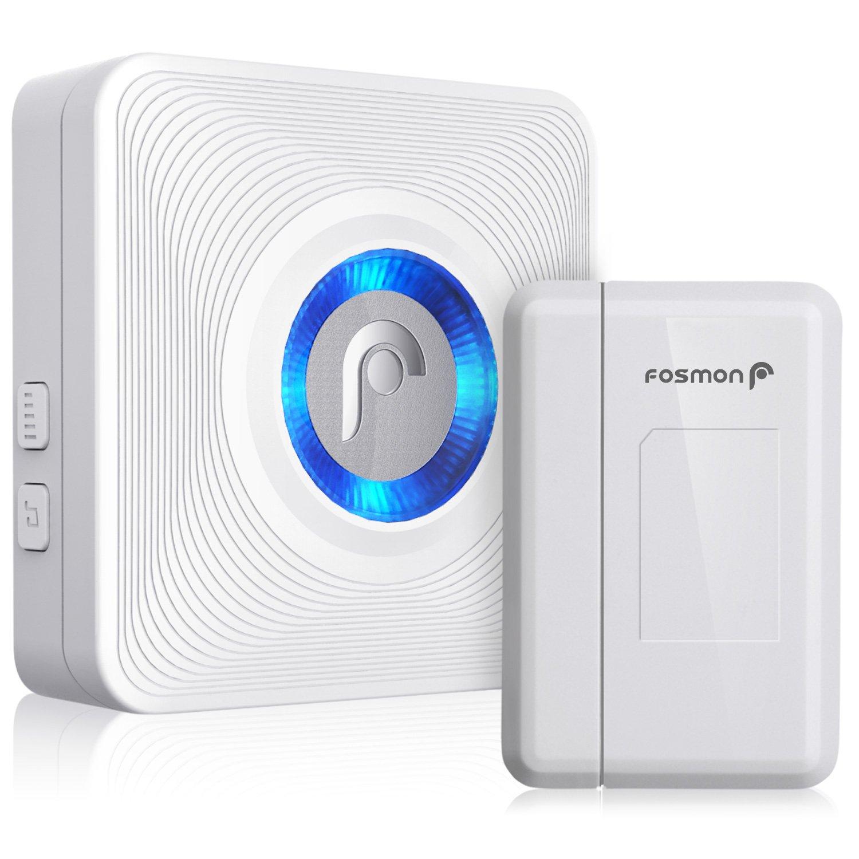 Fosmon WaveLink 51004HOM Wireless Door Open Chime (400 Feet, 52 Tunes, 4 Volume Levels, LED Indicators) 1 Magnetic Door Entry Alert Security Contact Sensor and 1 Wireless Doorbell Plugin Receiver by Fosmon