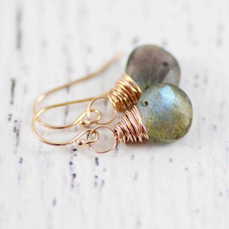 d9eecdf6a Amazon.com: Labradorite Rose Gold Small Stone Dangle Earrings Jewelry Gift:  Handmade