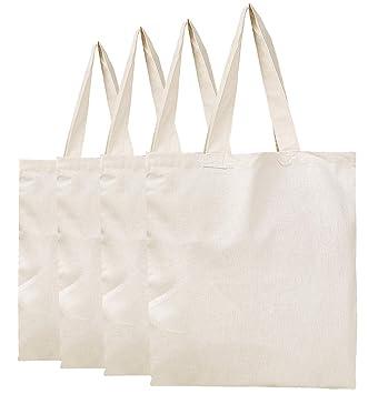 fdade985e BagzDepot Plain Canvas Tote Bags - 100% Cotton Fabric Reusable Cloth Bags -  Set of 4 - Tote ...