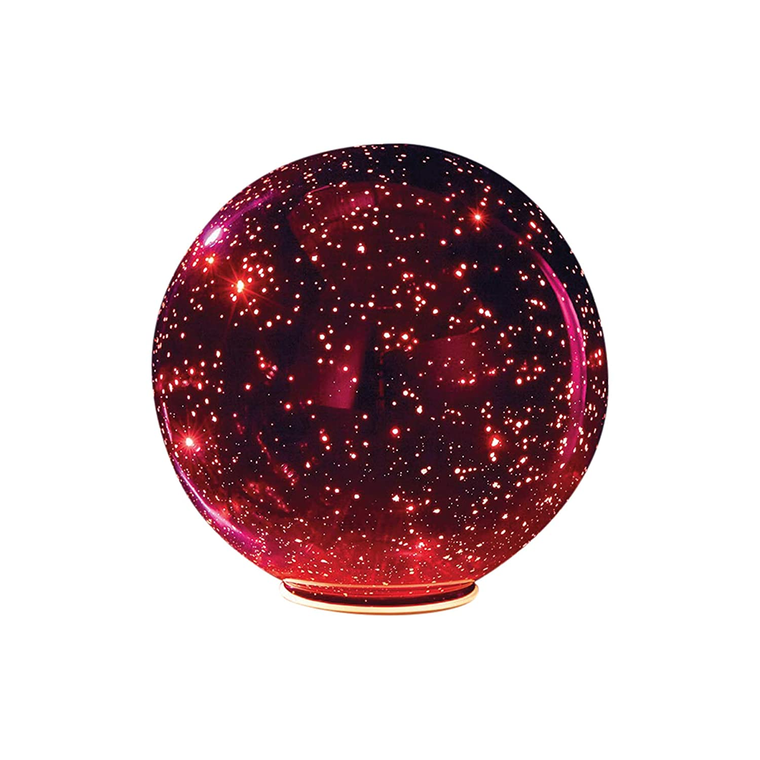 SIGNALS Lighted Mercury Glass Ball Sphere for Holiday Home Decor - Battery Operated - Red - Large