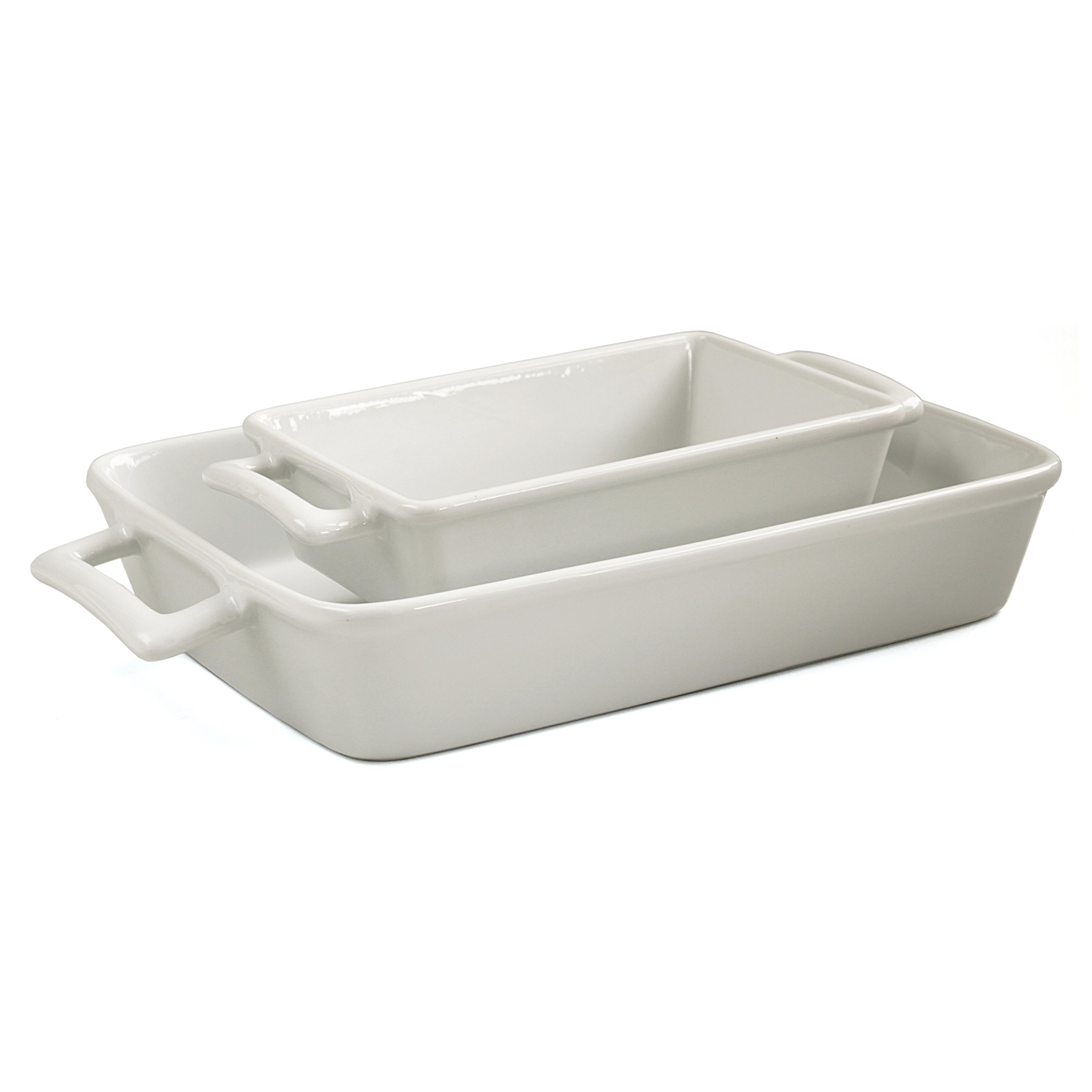 HIC Harold Import Co White Porcelain 2 Piece Lasagna Pan Set