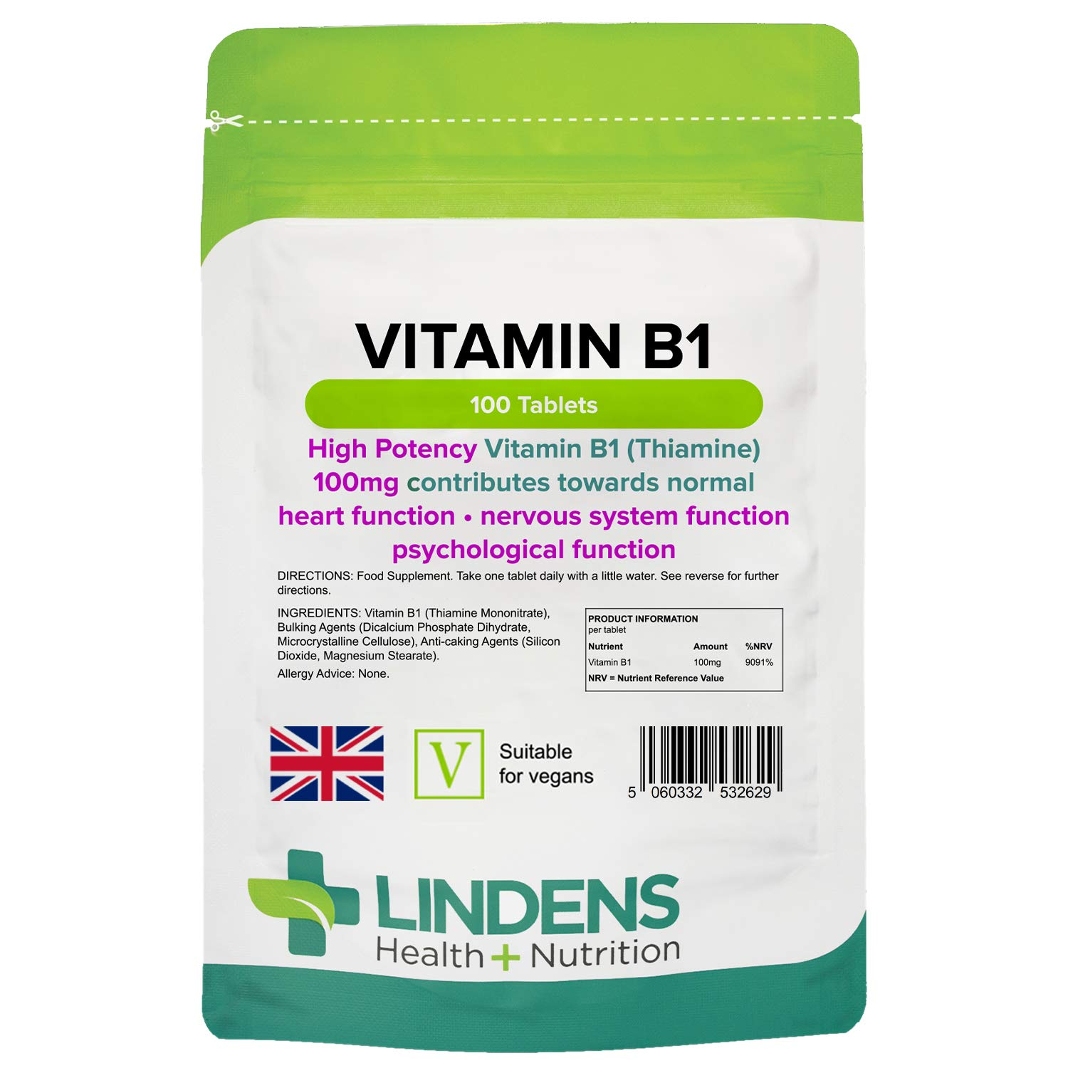 Lindens Vitamin B1 Thiamine Tablets - 100 Pack - for Heart, Immune and Psychological Function & Energy Release - UK Manufacturer, Letterbox Friendly