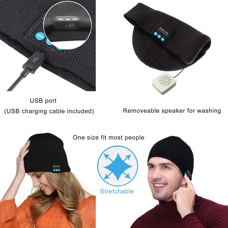 YAMTHR HD Stereo Wireless Beanie Hat Wireless Headset Musical Knit Cap V4.2 Headphones Speakers Built-in Mic Black