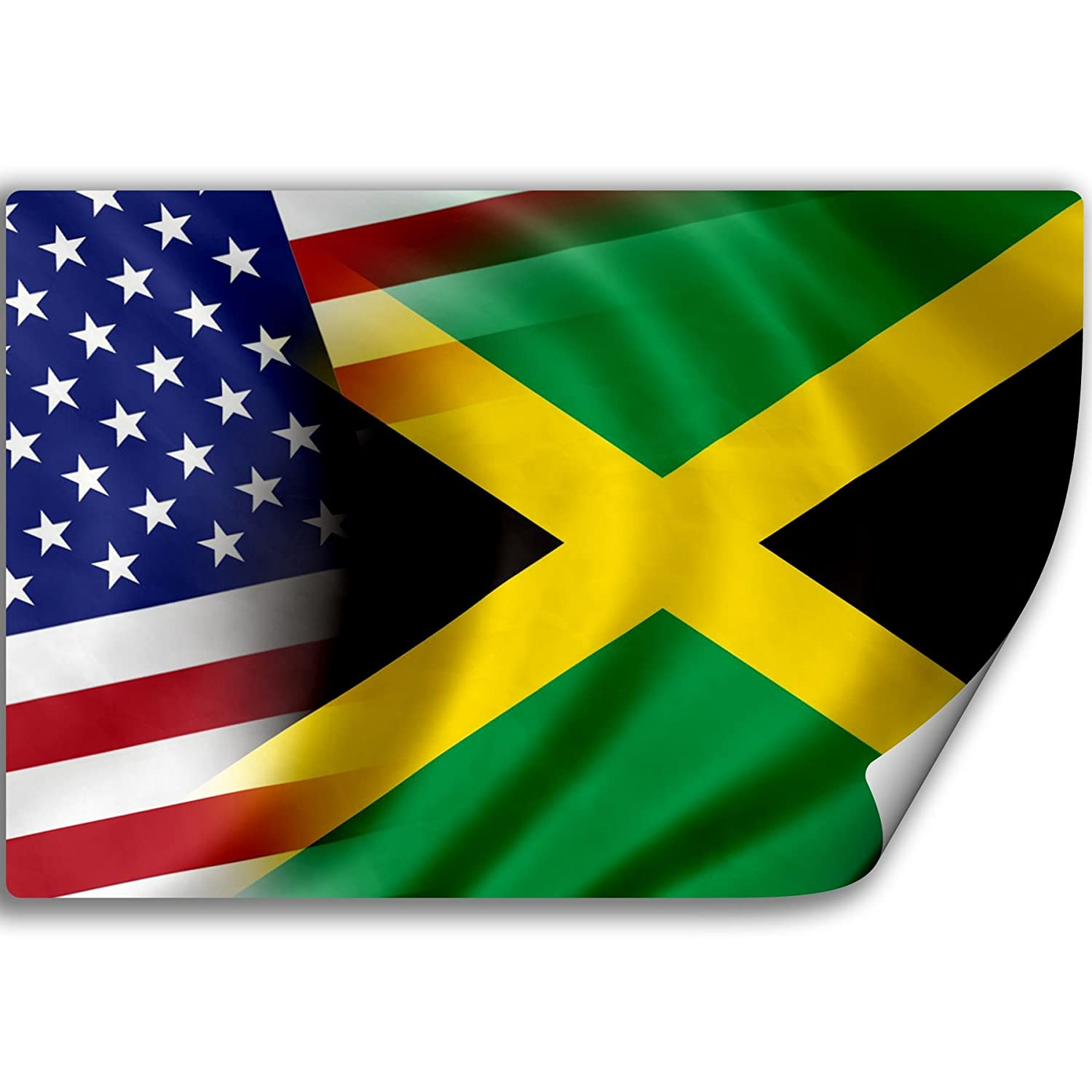 Amazon com sticker decal with flag of jamaica and usa jamaican home kitchen