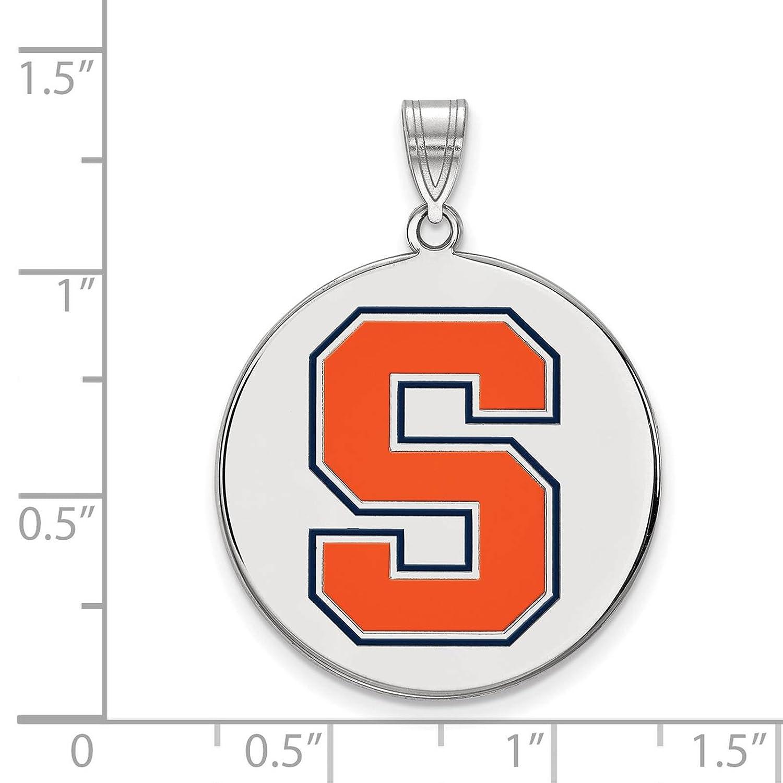 925 Sterling Silver Rhodium-plated Laser-cut Syracuse University XL Enameled Disc Pendant